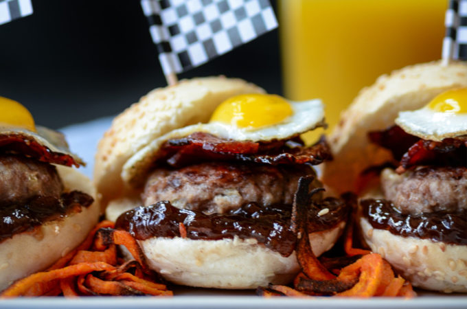 Bacon and Egg Mini  Burgers with Sweet Potato Curls