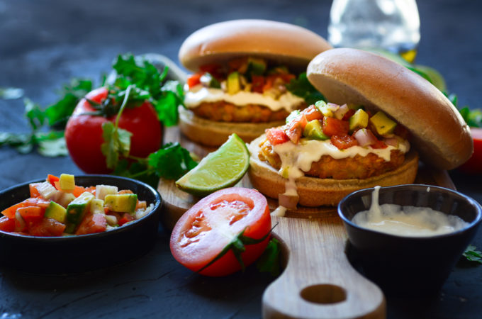 Fiesta Chicken Burger with Fresh Salsa and Tequila-Lime Mayo