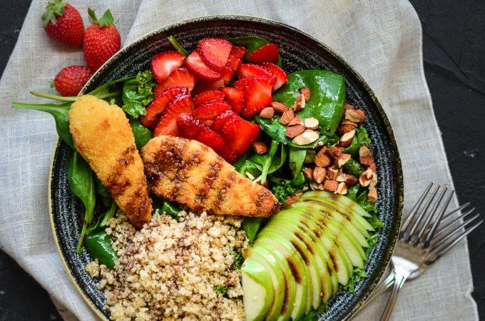 Sweet and Zesty Chicken Finger-Quinoa Salad