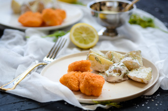 Fish Nuggets with Tartar Sauce and Lemon-Dill Potato Salad