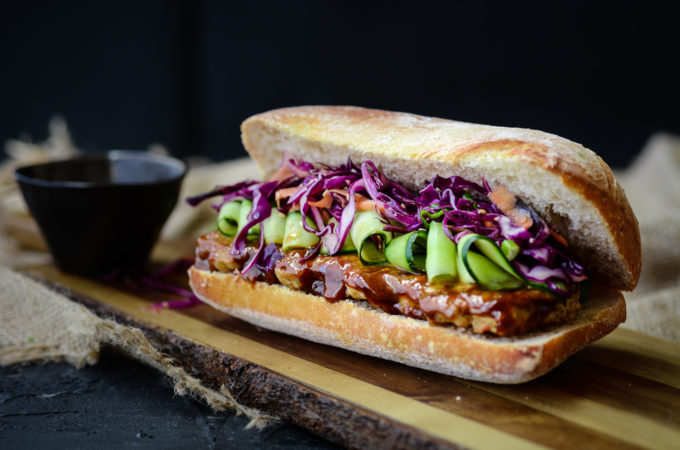 Hoisin Pork-Rib Ciabatta with Crispy Asian Slaw
