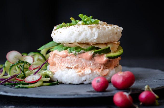 Salmon-Avocado Sushi Burger with Sriracha Aioli